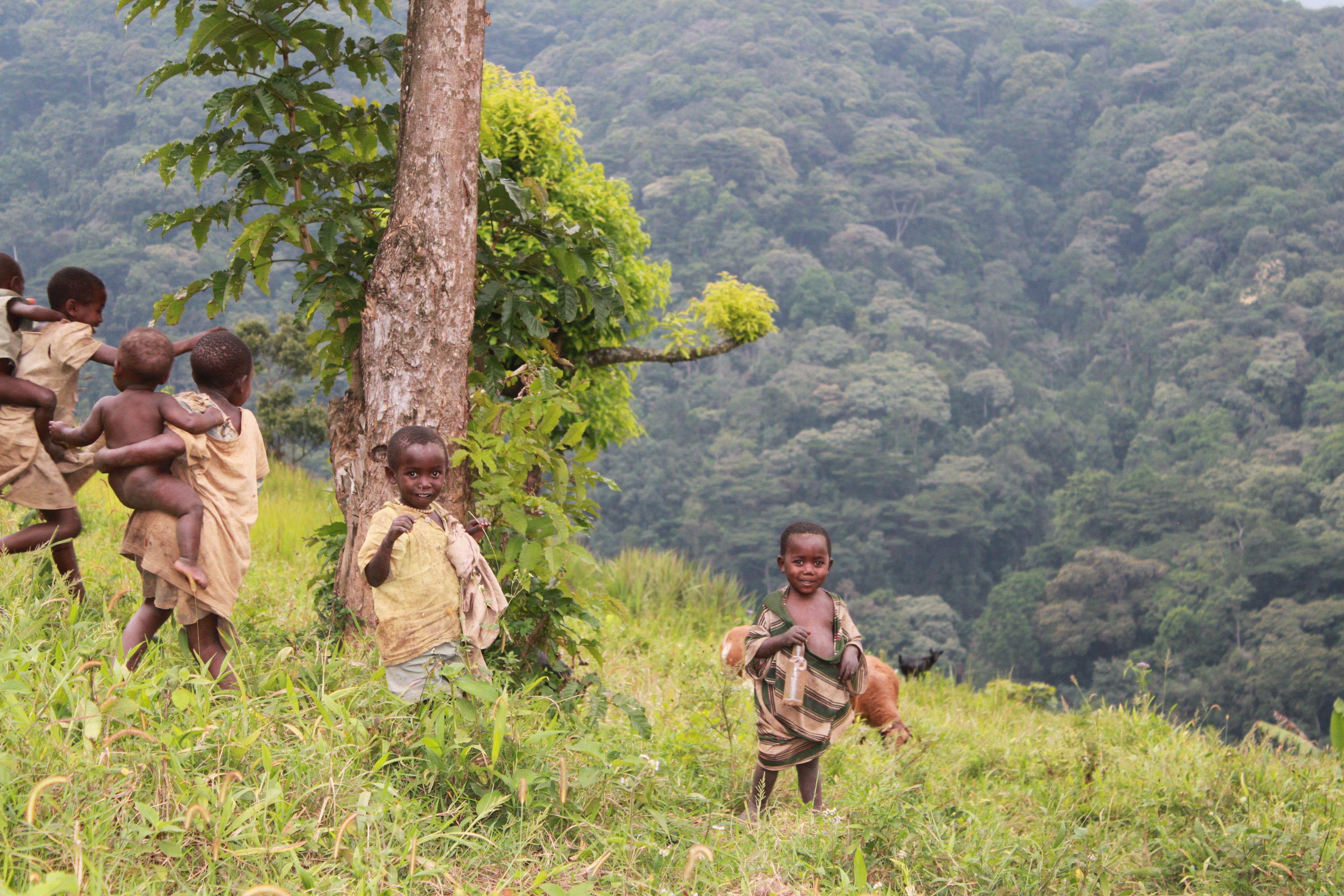 Uganda 19-013 Batwa children on edge of Bwindi National Park Credit L King
