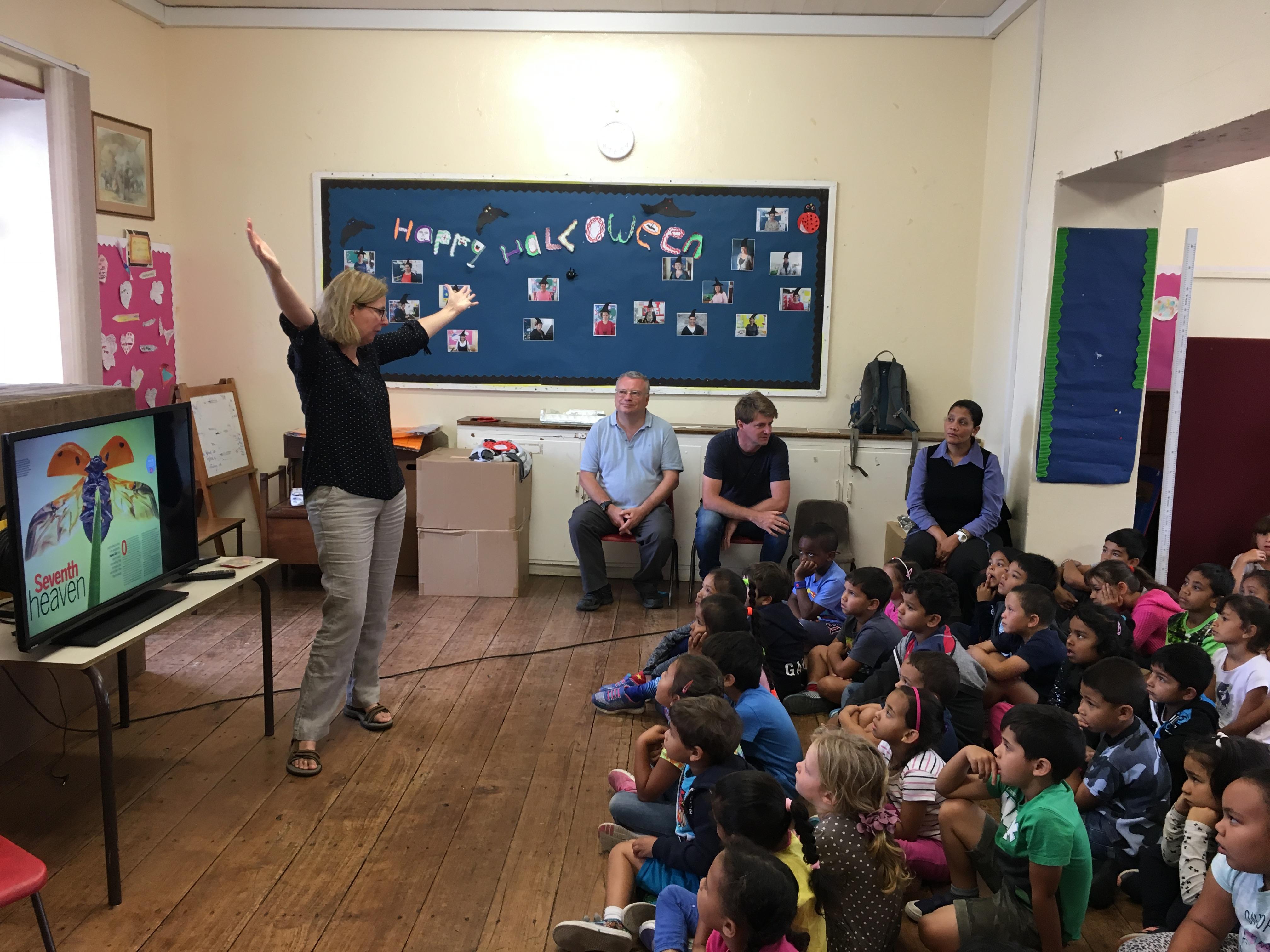 Cyprus DPLUS056 Professor Roy talking to children from Jamestown School St Helena, Credit - Helen Roy